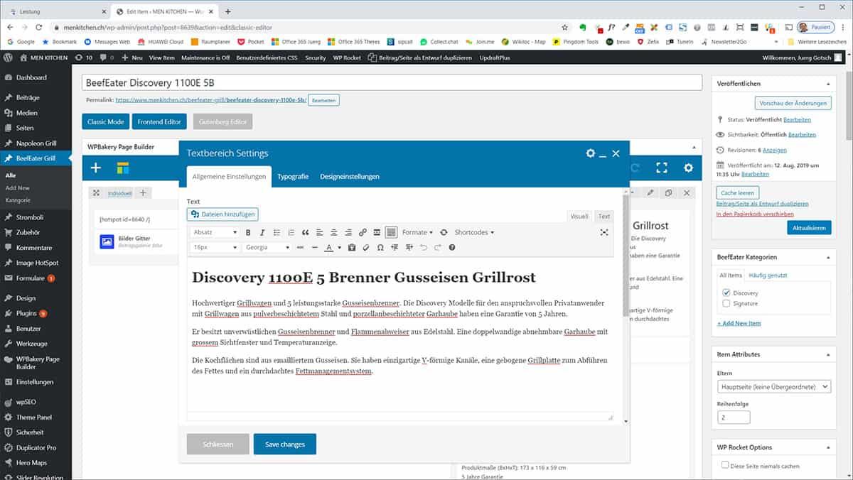 WPBackery PageBuilder als vielseitigen Editor