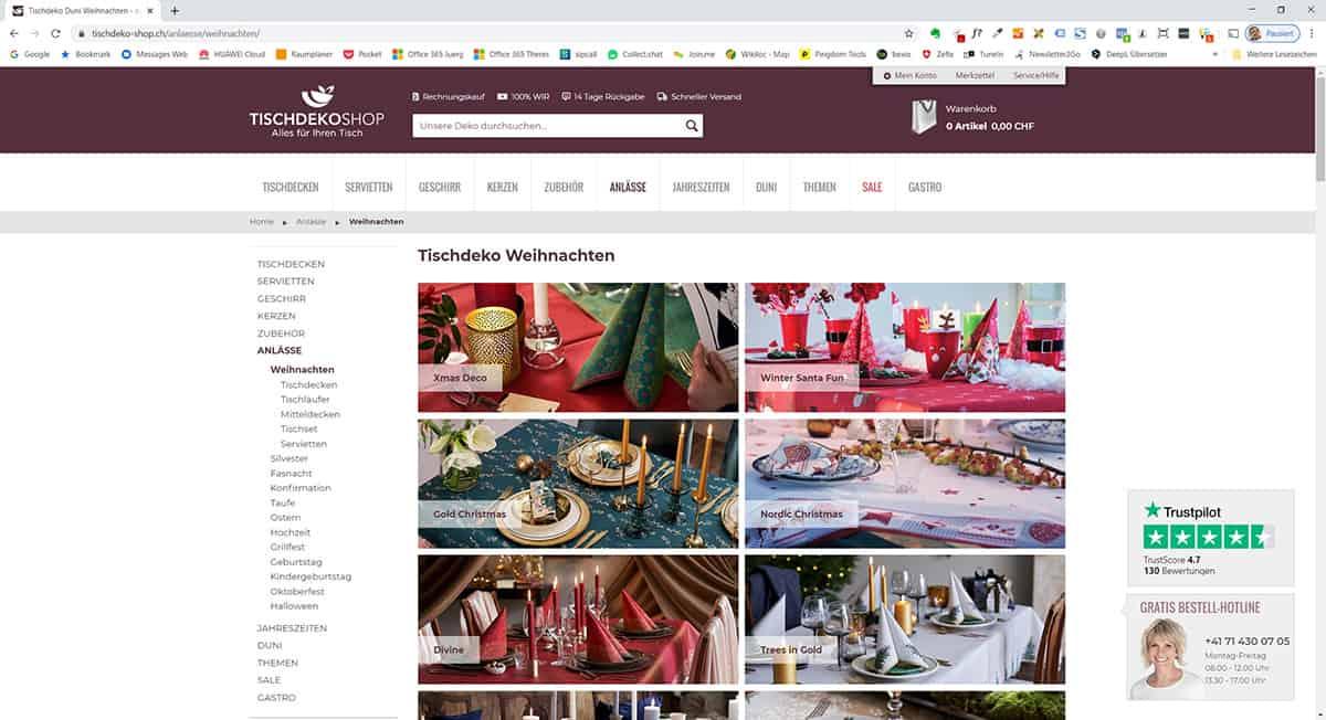 Landingpage Für Ein Thema Tischdeko-Shop