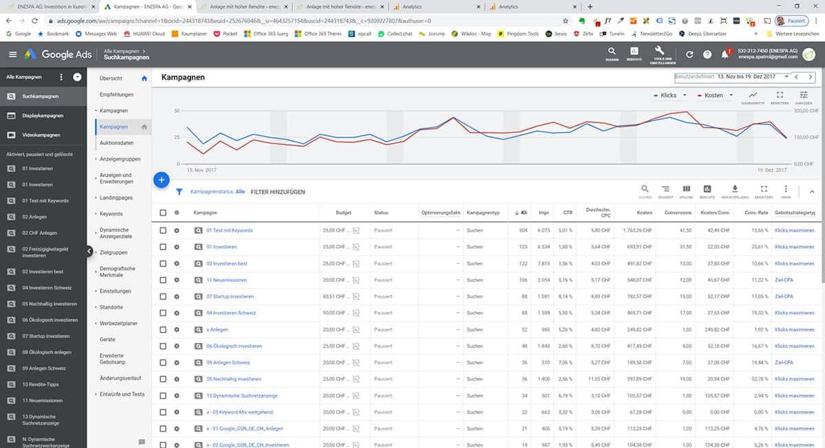 Werbekampagne Google Adwrods für Enespa AG